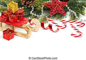 trenó, luminoso, natal, composição