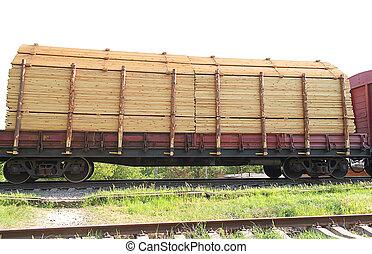 tren, carga, con, madera, contenedor, transporte, carga