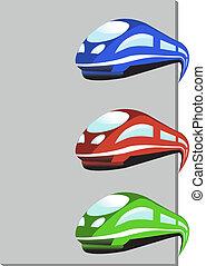 tren, colores, vector, tres