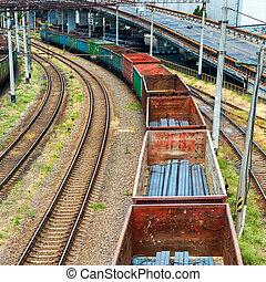 tren, con, carga, carros