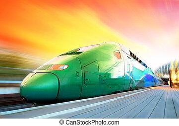 tren de alta velocidad, con, mancha de movimiento, al aire...