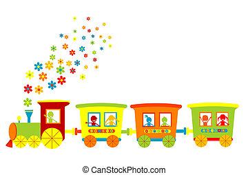 tren de juguete, con, feliz, niños