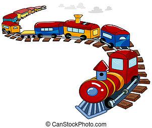 tren de juguete, plano de fondo