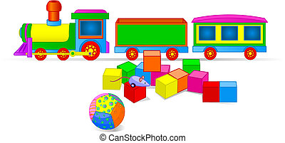 tren de juguete, y, bloques
