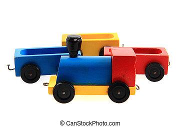 tren de madera, juguete, viejo
