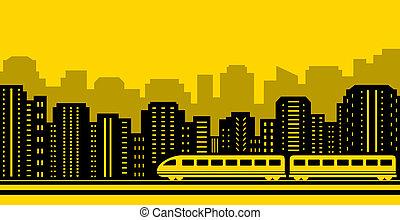 tren de pasajeros, plano de fondo, ciudad