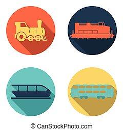 tren del ferrocarril, plano, iconos, conjunto
