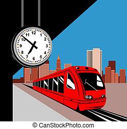 tren, en, el, estación