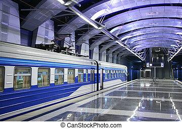 tren, en, estación metro