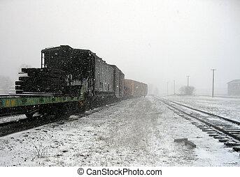 tren, invierno