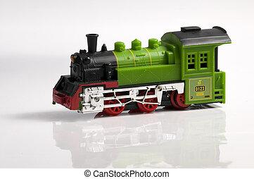 tren, juguete, colorido