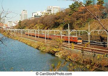 tren, lago, tokio