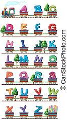 tren, lleva, inglés, alfabetos