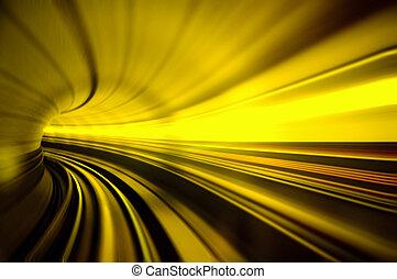 tren, mudanza, rápido, en, túnel