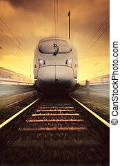 tren, mudanza, rápido