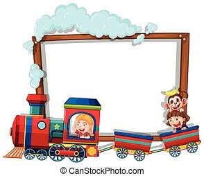 tren, niños frontera, plantilla