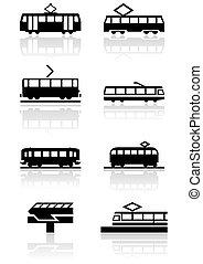 tren, símbolo, vector, set.