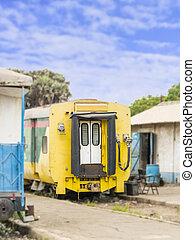 tren, viejo, abandonado, carruaje