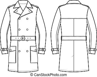 Trench coat for men - Vector illustration double-breasted...