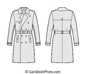 Trench coat technical fashion illustration with belt, double breasted, long sleeves, knee length, storm flap Flat jacket