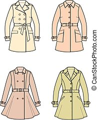 Trench coat - Vector illustration of women's trench coats