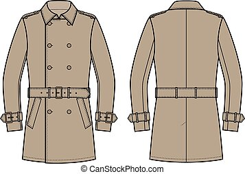 Trench coat - Vector illustration of double breasted trench...