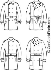 Trench coat - Vector illustration of double-breasted trench...