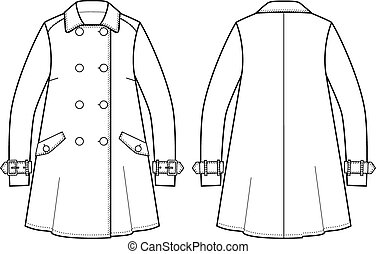 Vector illustration of trench coat. Front and back