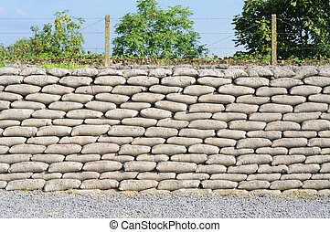 Trench from World War I, relic, fossilized sandbags, Diksmuide, Flanders, background