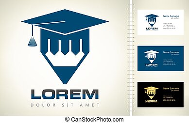 trencher cap and pencil logo vector