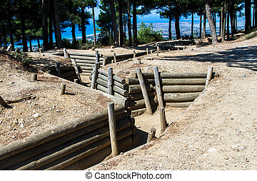 trenches, canakkale, 博物館, 開いた 空気