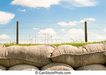 trenches, com, arame farpado, e, sacos areia, mundo, guerra, um