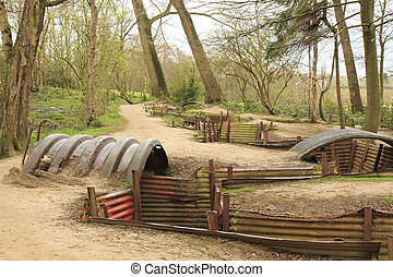 trenches, de, a, primeiro, mundo, guerra, campo batalha,...