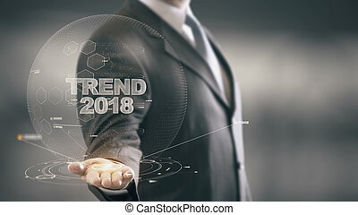 Trend 2018 with hologram businessman concept - Business...