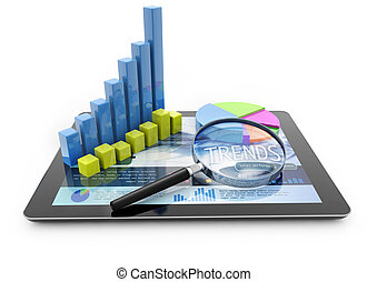 trend analysis - graphs and magnifier over a portable...