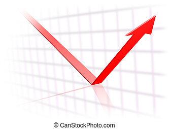Trend arrow turns upwards