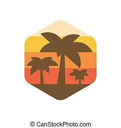 trend, eiland, moderne, bomen, palm, illustratie, paradijs, aarde, ondergaande zon