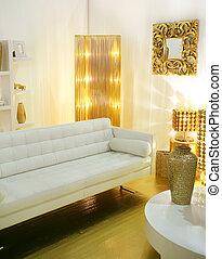 trend interior - modern interior designed with golden...