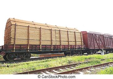 trende carga, con, madera, carga, transporte, en, ferrocarril