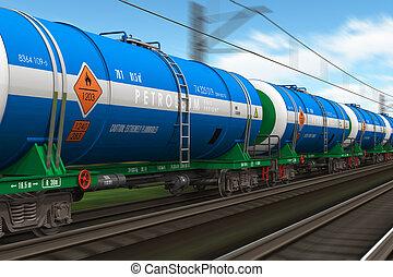 trende carga, con, petróleo, tanques