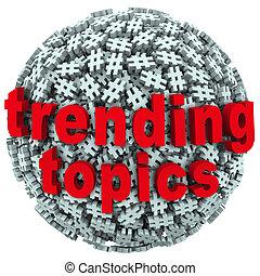 trending, ハッシュ料理, トピック, タグ, 更新, シンボル, 暑い, ポンド, ポスト, メッセージ