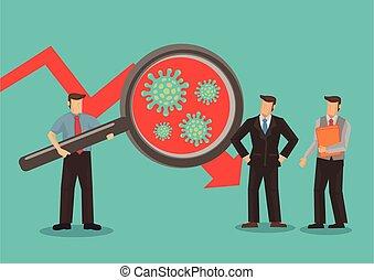 trending, 拡大する, 株, 下方に, 見る, チャート, 市場, ガラス, 慎重に, 保有物, ビジネスマン