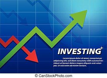 Trending Arrow up, investing background, vector