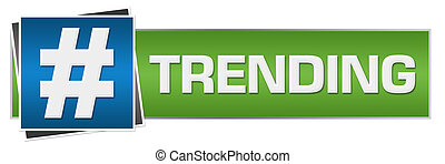 Trending text with hash over green blue background.