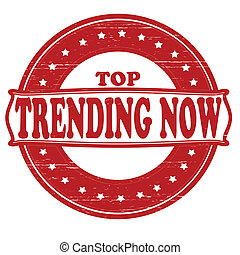 Stamp with text trending now inside, vector illustration