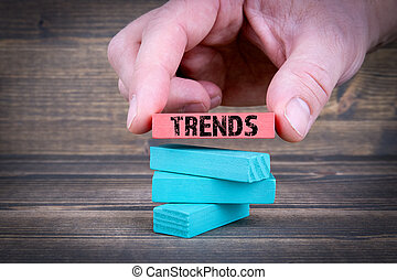 Trends. Business Concept With Colorful Wooden Blocks