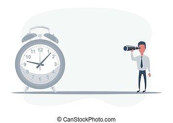 trends., clock., regarder, homme affaires, avenir, debout, reussite, devant, télescope, homme affaires, occasions, utilisation, future.
