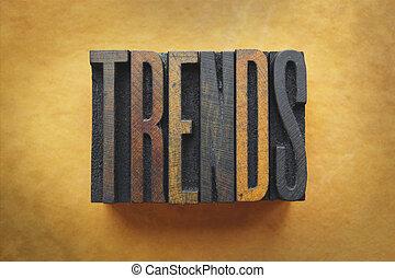 The word TRENDS written in vintage letterpress type.