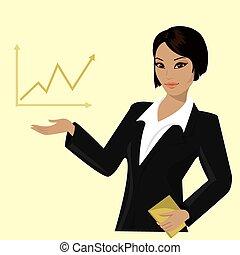 trends, vrouw het richten, zakelijk, aziaat