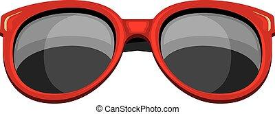 trendy, óculos de sol, vermelho
